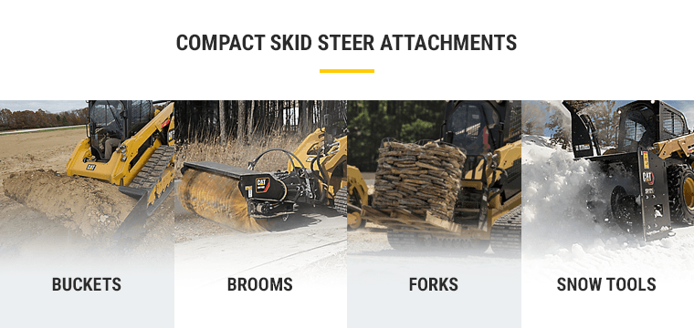 Compact Skid Steer Attachments: Buckets, Brooms, Forks, and Snow Tools