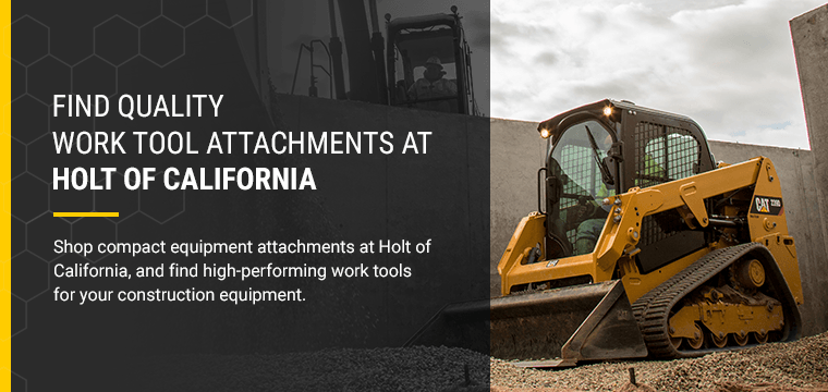 Find Quality Work Tool Attachments at Holt of California. Shop compact equipment attachments at Holt of California, and find high-performing work tools for your construction equipment.